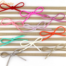 10pcs/lot Girls Suede Solid Bow Elastic Nylon Headband, 2017 Girls Elastic Nylon Headband Hair Band Hair Accessories