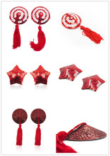 reusable Nipple Covers new 2015 sexy lingerie hot Breast Petals New Sexy 1 Pair sequin Tassel Pasties Nipple Covers