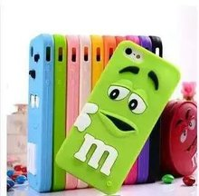 Cut 3D Cartoon Rubber M&M Fragrance Chocolate Bean Case Silicon M Rainbow Beans Back Cover For iPhone 4 4S SE 5 5S 5C 6 6S Plus