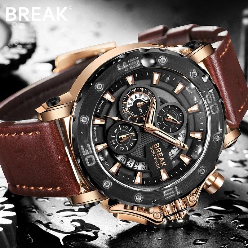 BREAK Chronograph Casual Watch Men Luxury Brand Quartz Military Sport Watch Genuine Leather Mens Wristwatch Relogio Masculino<br>