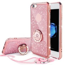 Buy Glitter Case iphone 6 iphone 6s Case Ring Bling Case iphone 7 7plus diamond Case Black 6 6splus Cover Pink Lanyard for $8.39 in AliExpress store