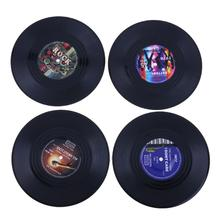 4Pcs/Set Dining Table Placemat Mat Retro Vinyl Record Coasters Cup Holder Pad Kitchen Tableware Drink Pads accessories(China)