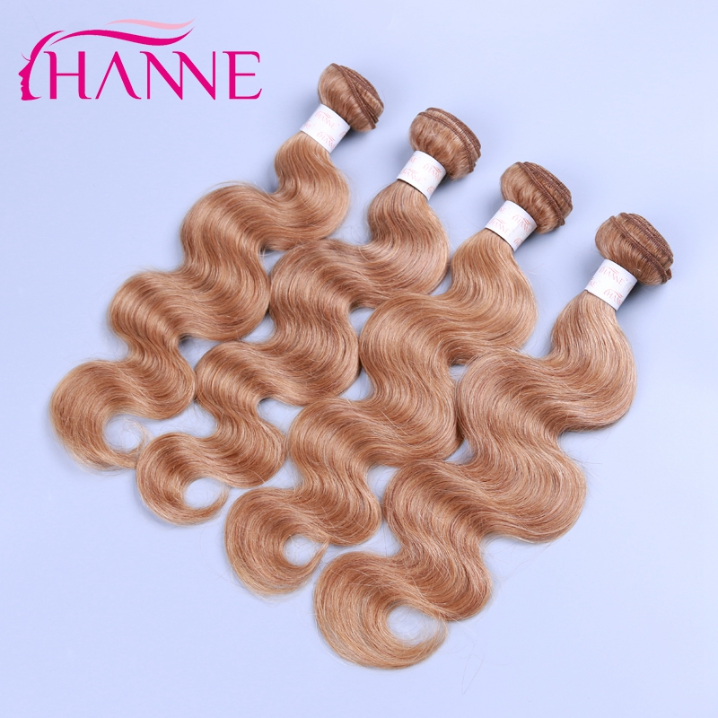 Honey Blonde Color Brazilian Hair Weave 4 Bundles Deal Brazilian Body Wave 27# Color Cheap Human Hair Extensions Thick Bundle<br><br>Aliexpress