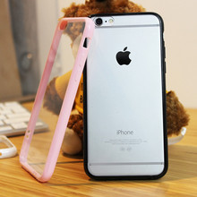 For iPhone 5 5s SE 6 6s Plus 6plus 7Plus TPU Frame + Acrylic Back Cover Candy Colors Clear Transparent Phone Case With Dust Plug