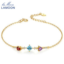 LAMOON 4mm Purple Amethyst Red Garnet Blue Top 925 Sterling Silver Jewelry S925 Charm Bracelet LMHI027(China)