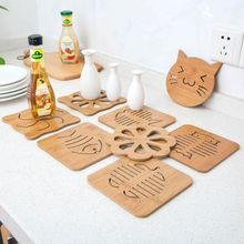 2pcs/lot Various Lovely Shapes Wooden Dining Table Placemats Pot Cup Mat Heat Insulation Kitchen Accessories Decoration Home B32