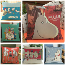 New Arrival Cute Cartoon Moomin Cushion Cover Linen Cotton Throw Pillow Case Square 45*45cm Home Textile Product for Sofa Bed