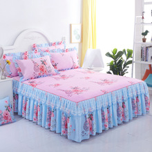 Skirt Cover Bedspread Floral-Fitted-Sheet Decoration Non-Slip Bedroom Lace Graceful Cubrecama