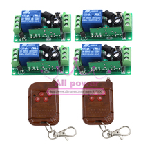 Free shipping 12V 4CH Remote Control Switch RF Wireless 2Transmitter+4Receiver Learn Code 3 Kinds Work Way 315/433MHz(China)