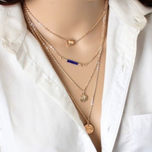 Europe and the United States big fashion temperament clavicle chain of high-grade love gold coin multi-layer anti-allergic neckl(China)