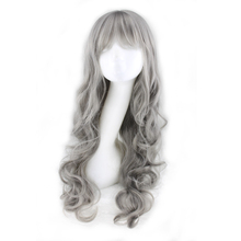 QQXCAIW Women Girls Long Curly Cosplay Party Grey Gray 70 Cm Synthetic Hair Wigs