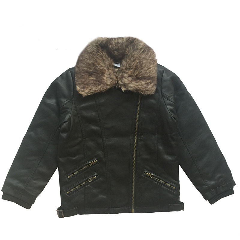 Kids 2017 Winter Boys Coats Jackets Boys PU Leather Jacket Faux Fur Collar Children Outerwear Bomber Jacket Baby ClothesОдежда и ак�е��уары<br><br><br>Aliexpress