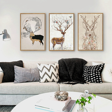 HAOCHU Vintage Animal Deer Head Birds on Tree Art Prints Posters Wall Picture Canvas Painting for Living Room Decor cuadros