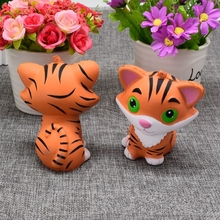 1 x New Mini Animal Kawaii Tiger Squishy Doll Bread Squeeze Slow Rising Phone Straps Soft Scented Cake Toys Gift P15