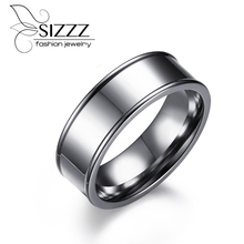2017 new simple engagement rings jewelry stainless steel wedding rings with US size 4 to 15 7mm Wide extra large Rings(China)