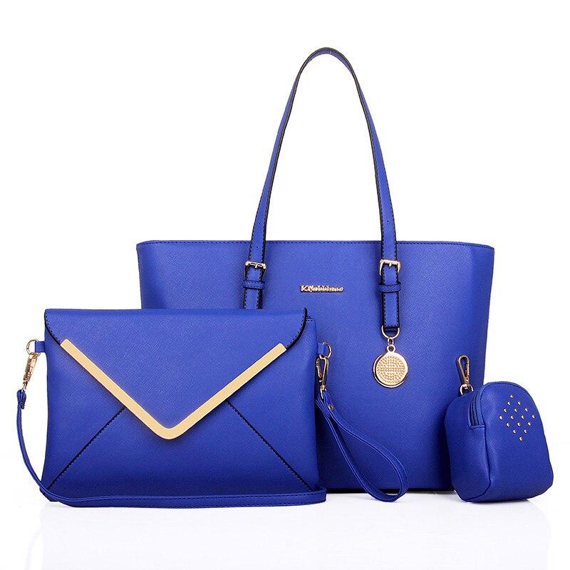 2015  Women Office Bag Girl Messenger Bag 3Bags Per Set Bolsa Feminina Lady Handbag Casual  Royal Blue Color Women Bag Q2<br><br>Aliexpress
