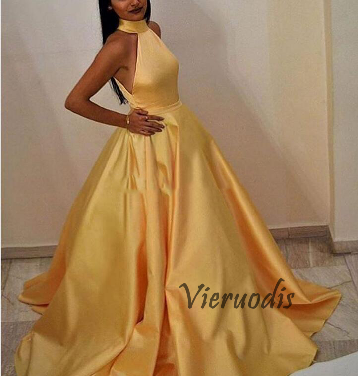 Robe De Soiree Muslim A-Line Long Prom Dresses Yellow Satin High Neck Evening Dress With Backless Plus Size Custom