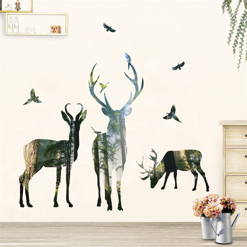 HTB1eC1BffQs8KJjSZFEq6A9RpXaD 3d View Nature Forest Deer Wall Stickers Home Decor Living Room Office Decoration Pvc Wall Decals Poster Diy Mural Art