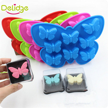 Delidge 1 pc 8 Holes 3D Butterfly Shaped Cake  Mold Silicone Candy Chocolate Ice Mould Handmade Baking making Mold Candy Color