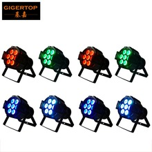 8pcs/lot Cheap Price 7x10W 4IN1 Led Par Light 80W Mini Size RGBW Color Mixing Led Par Can Effect Light 90V-240V Silent Working(China)