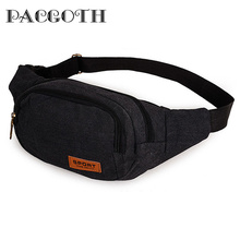 PACGOTH Vintage Causal Canvas Three Zipper Pockets Waist Pack with Cell Phone Pouch For Man Male's Pillow Pattern Bag 1 PC