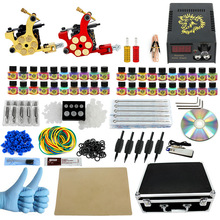 ITATOO Professional Tattoo Kit 2 Liner Shader Tattoo Machine Set 20pcs Tattoo Ink Power Supply Set with Carry Case PX110004