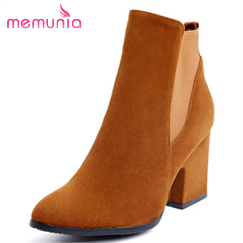 MEMUNIA Plus size 34-43 ankle boots fashion contracted women shoes spring autumn high heels boots three colors<br>