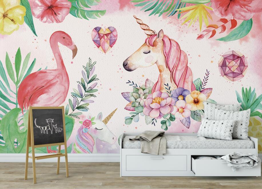 HTB1eC7 r1ySBuNjy1zdq6xPxFXaz - Custom High-quality wallpaper nordic flamingo unicorn For Children Room