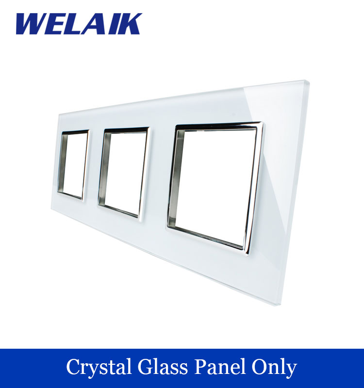 WELAIK Free shipping Luxury triple Crystal Glass Panel 3Frame 222mm*80mm EU Standard  wall socket DIY Accessories A3888W/B1<br><br>Aliexpress