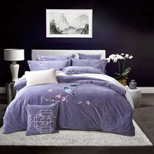 Purple Luxury Chinese Style Flowers Bird Embroidery Winter Velvet Flannel Bedding Set Duvet Cover Bed Linen Bed sheet Pillowcase(China)