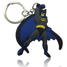 1PCS The Avengers Superhero Batman Cartoon Keychain PVC Charms+Keyrings Kids Gift Party Favors Bag Decor Key Cover Accessories(China)