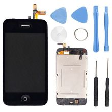 LCD Screen Display + Digitizer Touch Screen lens+Home Button For iPhone 3G LCD Replacement Black with Tools,Free shipping