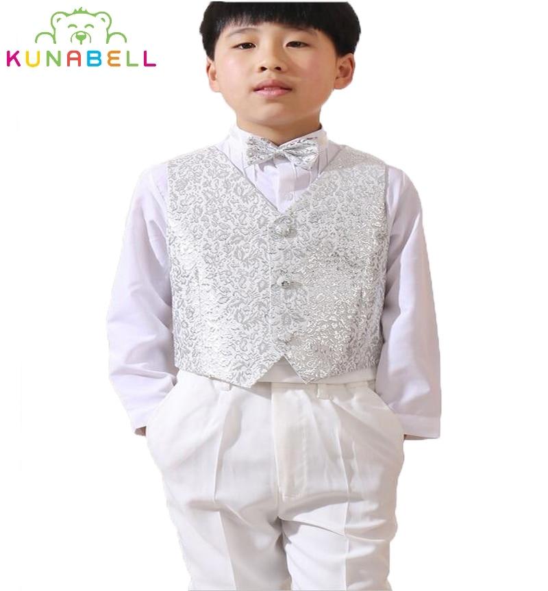 2017 Baby Boys kids Blazers Formal Suit Weddings Prom Birthday Dress Party White Flower Boy Waistcoat Ceremonial Suits Set F29<br>