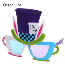 Alice In Wonderland Mad Hatter Costume Glasses Cosplay Hat Props Birthday Favors Festive Party Supplies Decoration Accessories