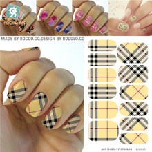 Fashion Minx nail sticker wraps Water Transfer Yellow plaid Decoration water decals nail art stickers fashion