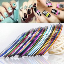 30 Rolls Holographic Nail Line Decal Set Striping Tapes 1mm Adhesive Laser Manicure Nail Decoration Fingernail Sticker Tools(China)