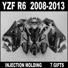 Hot sale Injection mold for YAMAHA R6 2008 2009 - 2013 glossy flat black fairings 08 09 10 11 12 13 YZF R6 fairing set FVG74(China)