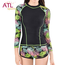 Surf Rashguard Women Protection Surf Rash Guard Swimming Long Sleeve Swimsuit For Women Thermal Swimwear Black Surf-clothing(China)
