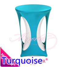 Turquoise spandex high bar table decoration cover lycra table top cover for wedding banquet and party cocktail table decoration