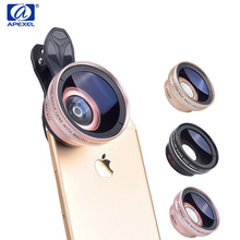 APEXEL Professional HD 37mm 0.45X Super Wide Angle + 12.5X Macro Lens for iPhone 5 6 7 Plus Samsung S6 7 edge Plus S8 Plus