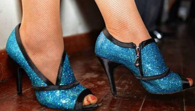 New Women Blue Glitter Salsa Ballroom Tango Dance Shoes Latin Dance Dancing Shoes ALL Size<br>