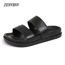 Buy ZENVBNV Big Size 36-44 Men Sandals New Brand Solid Leather Men Beach Slippers Women Summer Outside Shoes Unisex Flat Sandals for $14.66 in AliExpress store