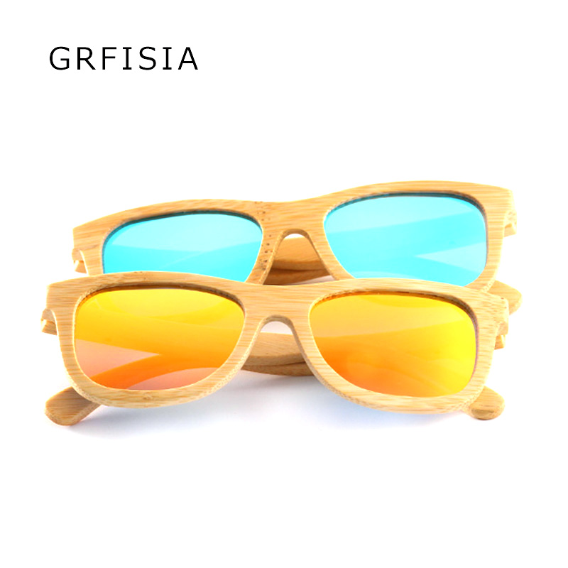 GRFISIA Children Bamboo Square Sunglasses Brand Design Polarized Square Girls Glasses Bamboo Frame Handmade Boys Glasses G027<br>