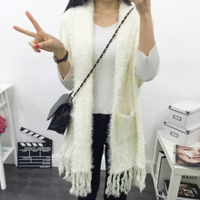 Fashion Solid White Women Long hand Knitted Sweater Cardigans Open Stitch Tassel Regular Short  Sleeve Loose Women's clothing