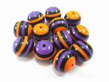 Newest ! 20mm-100pcs/lot Purple/Orange/Black Resin Stripe Beads ,Chunky Beads For Halloween Necklace Making Free Shipment !!(China)