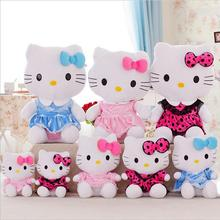 1pcs 30cm Hot Selling Addorable Plush Pink bowknot Dress Sit Hello Kitty Cat Plush Doll Toy Brand New Free Shipping