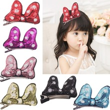 6 pcs 3 inches Boutique Hair Bling Sparkly Sequins Ribbon Cute Rabbit Ears Bunny Style for Party Girls Kids Children Hair Clips(China)