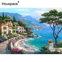 Houspace Mediterranean Gulf Sea Landscape Diy Painting By Numbers Kits Paint On Canvas Hand Painted For Home Wall Deocr Gift