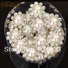 Sellsets 20pcs White Acrylic Pearl Crystal Hair Pins For Wedding Rhinestone Hair Jewelry Accessories