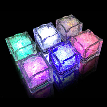 12pcs Event Decoration LED Flash Light Ice Cubes Wedding Supplies Bar Tools Changing Colors Colorful Celebration Christmas Tool